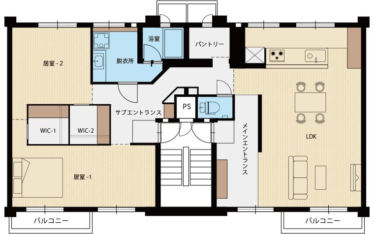 ニコイチ「ママが主役。充実のキッチン空間がある家」間取図