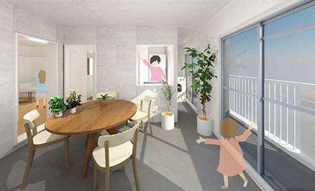 リノベ45「サンルームがある家」間取図、イメージパース