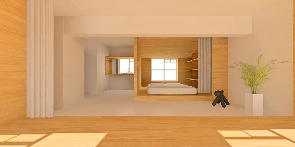 「寝窓間がまるで秘密基地のような家」イメージパース