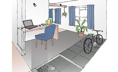 リノベ45「無垢床が気持ち良い広々リビングのある家」イメージパース