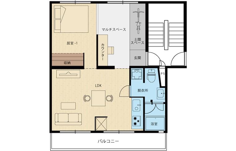 リノベ45「無垢床が気持ち良い広々リビングのある家」間取図