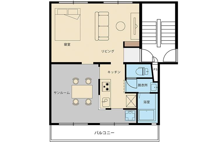 リノベ45「サンルームがある家」間取図
