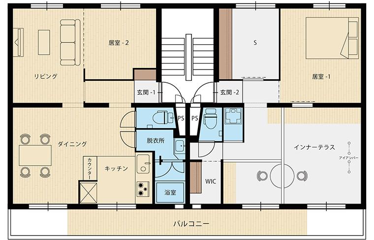 ニコイチ「家族を繋ぐ、インナーテラスがある家」間取図
