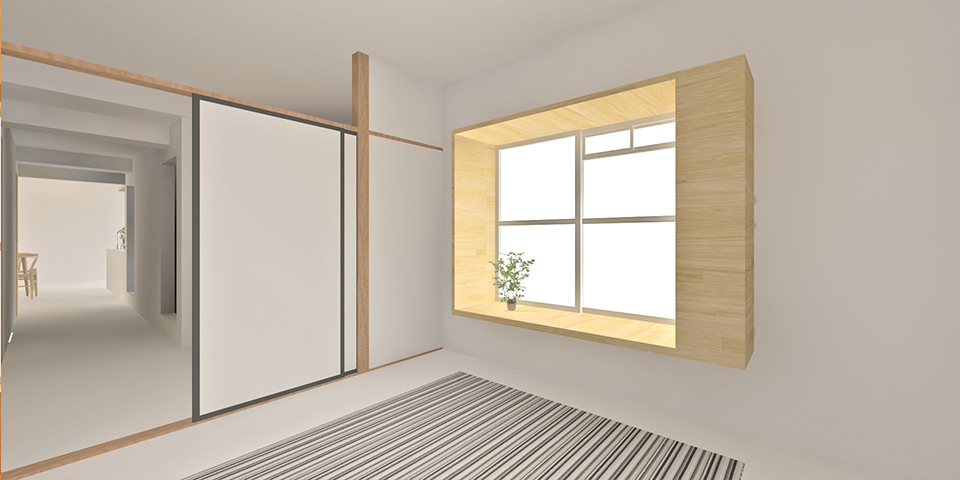 「出窓がアクセントとなる家」イメージパース